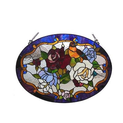 "Handcrafted 24"" Bird & Roses Floral Tiffany Style Stained Glass Window Panel 2"