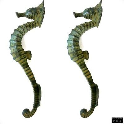 """4 small SEAHORSE PULL handle 27cm brass door aged GREEN old style house  10"""" B 8"""