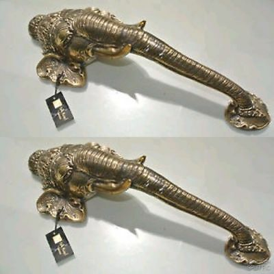 "2 large elephant DOOR handle pull solid brass hollow vintage style look 13"" B 2"