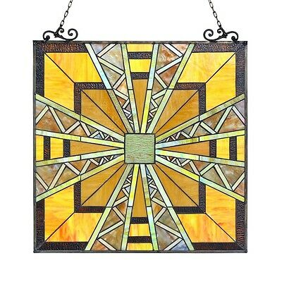 "Stained Glass Tiffany Style Window Panel Mission Arts & Crafts 24.5"" x 26"" 2"