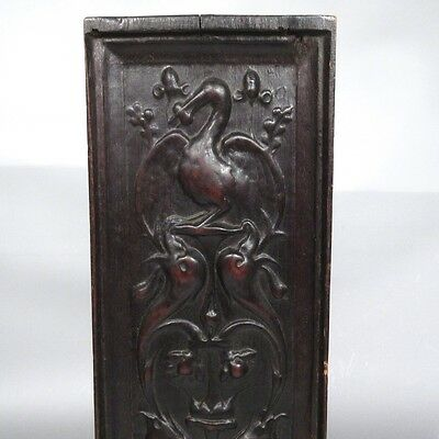 Antique French Hand Carved Wooden Panel, Pelican, Birds & Dolphins 5