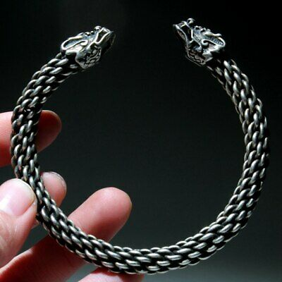 China Collect Tibet Silver Hand-Carved Myth Dragon Exorcism Auspicious Bracelet 5