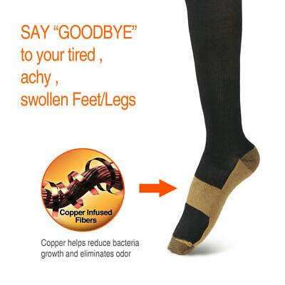 6 Pairs Copper Fit Energy Knee High Compression Socks, SM L/XL XXL Free Ship USA 6