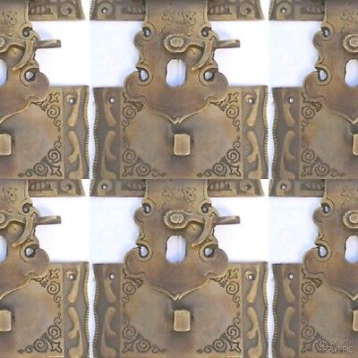 """4 box Latch catch solid brass furniture antiques doors kitchen old style 3"""" B 8"""