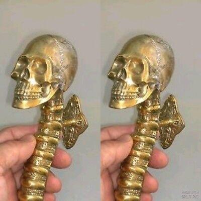 2 medium SKULL handle DOOR PULL spine solid BRASS old style natural 28cm B 3
