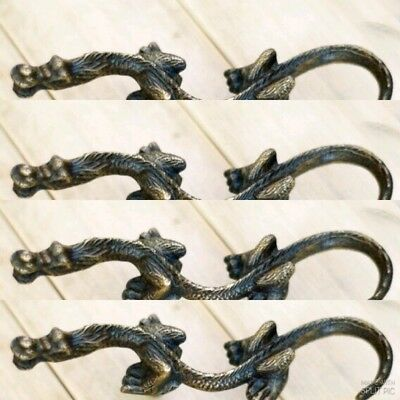 4 Rare 2 Sets Left and Right old style CHINESE DRAGON Cabinet Brass Knob 15 cm B 3