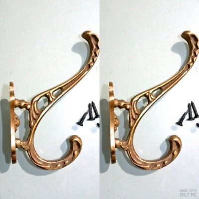"4 COAT HOOKS door solid brass furniture vintage age old style heavy 4 "" deco B 7"