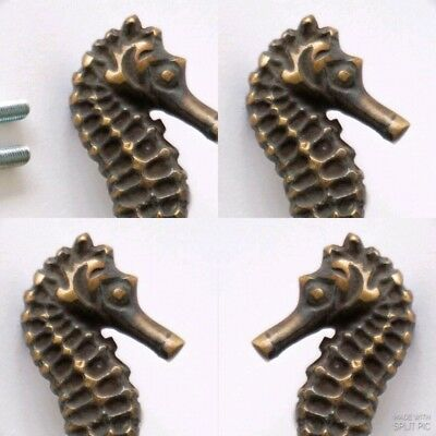 4 Sea Horse Cabinet Pull Set Door Knob Handle Seahorse pure aged Brass 7.5 cm B 3