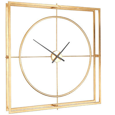 Trinity Metal Wall Clock Gold Metal Square Home Décor Modern Style 2