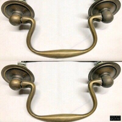 "4 bale handles heavy SOLID pure BRASS old style bolt house antiques 3 "" center 6"