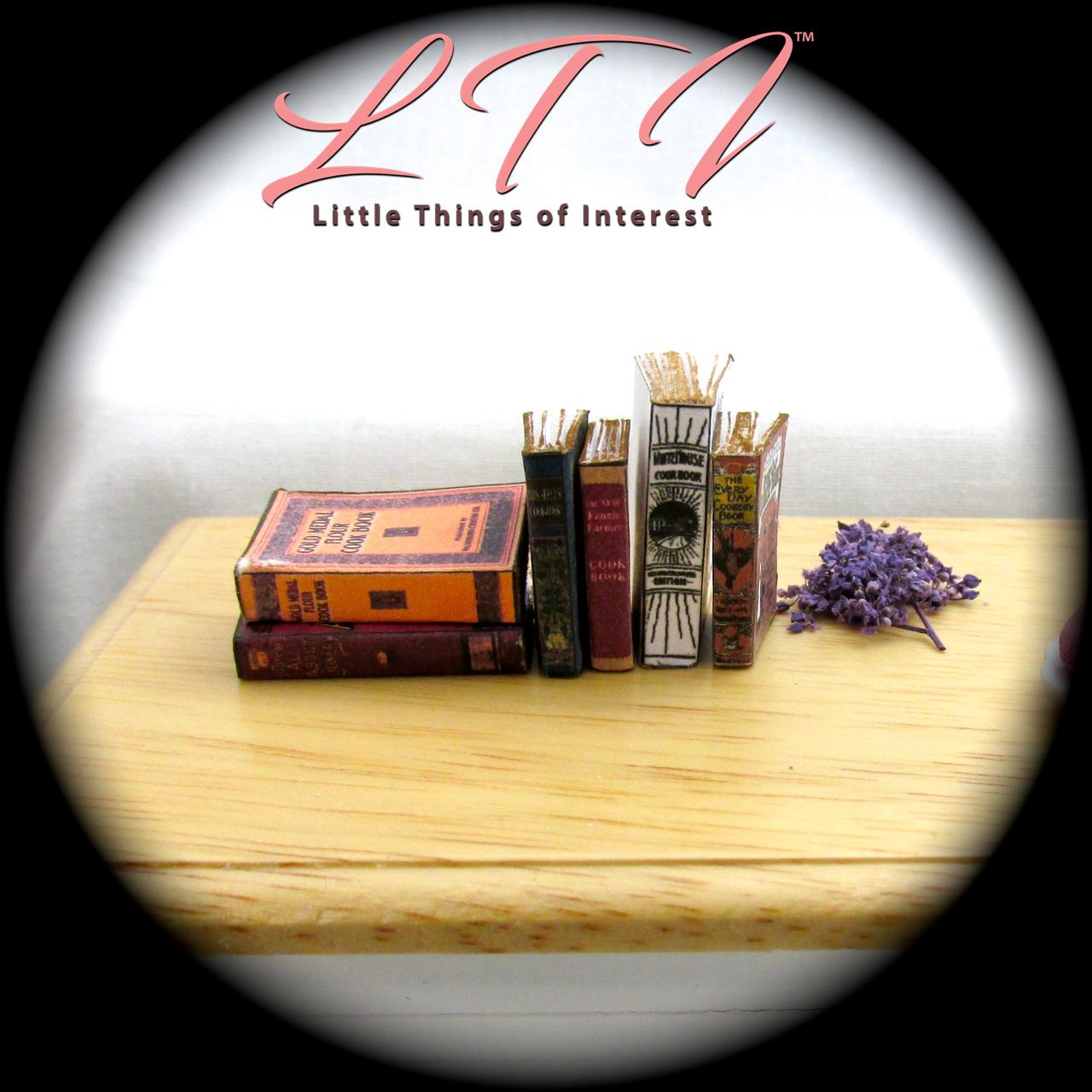 6 VINTAGE OLD COOKBOOKS Set Miniature Dollhouse 1:12 Scale Books PROP Faux 5