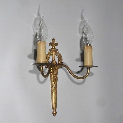 Vintage French Gilded Bronze Sconce, Neoclassic Style, Laurel Crown 2