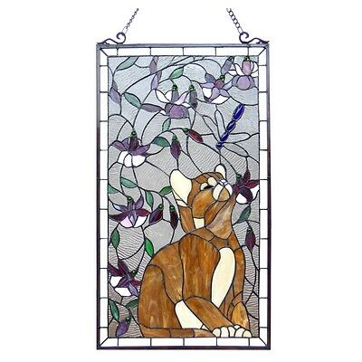 """Large Cat & Dragonfly Tiffany Style Stained Glass Window Panel  18"""" x 31"""""""