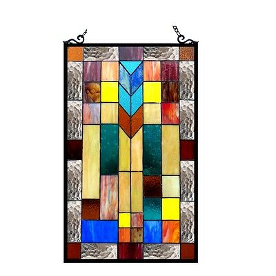 "Stained Glass Tiffany Style Window Panel Modern Arts & Crafts Design 16"" x 26"" 2"