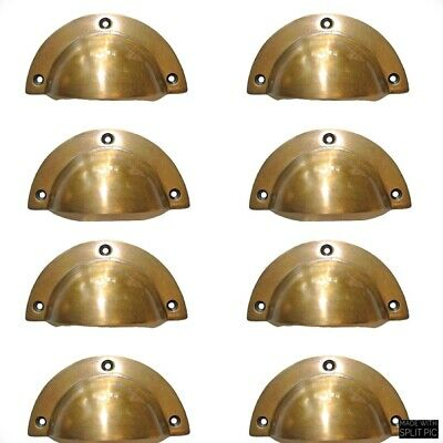 8 CAST shell shape pulls handles heavy solid brass old  aged style drawer 10cm B 3