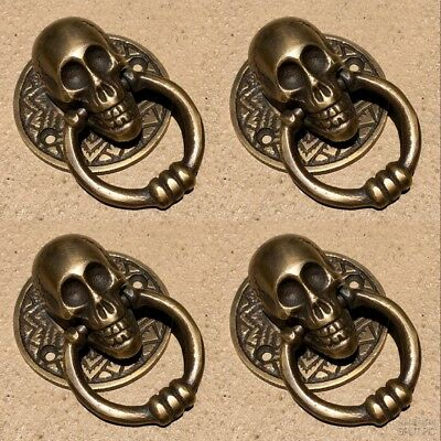 "4 small SKULL head handle DOOR PULL ring natural cast BRASS old style 5 cm 2"" B 5"