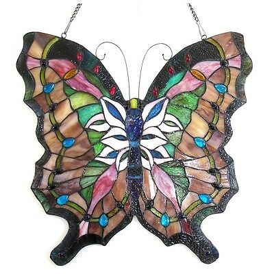"Vintage Butterfly Design Stained Glass Window Panel 22"" Tall x 22"" Wide 2"