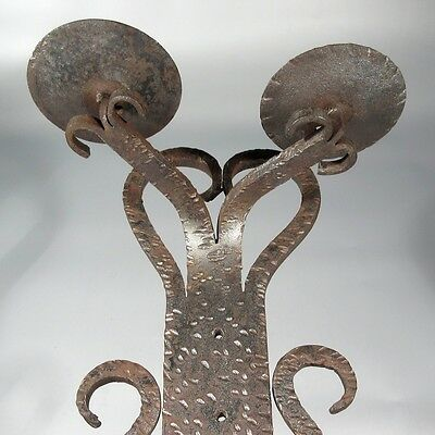 """Heavy Vintage French Wrought Iron Sconce, Hand Forged, """"French Riviera"""" Style"""