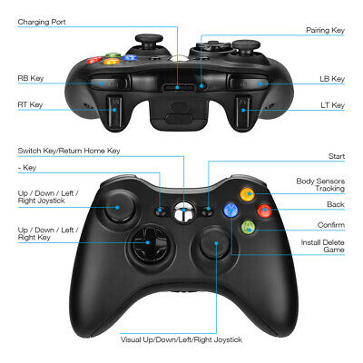 Wired / Wireless Game Controller Gamepad for Microsoft XBOX 360 & PC WIN 7 8 10 2