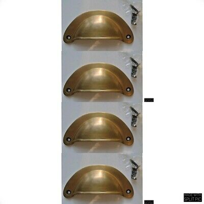 4 shell shape pulls handles heavy solid brass vintage aged style drawer 10 cm B 3