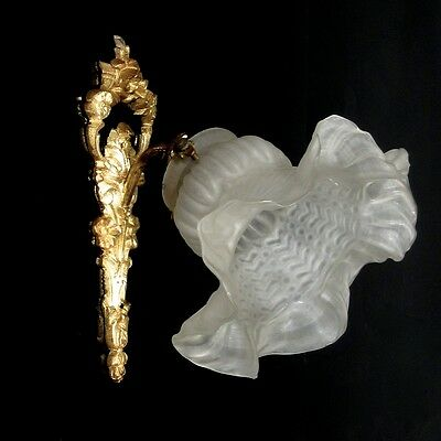 Antique French Gilded Bronze Sconce, Frosted Glass Shade, Numbered 2