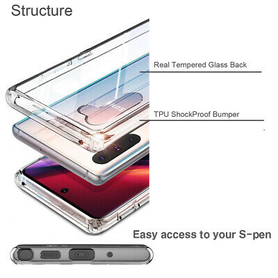 For Samsung Galaxy Note 10 / Plus Case 9H Tempered Glass Clear Back Hybrid TPU 9