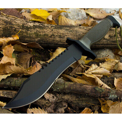 """12"""" COMBAT TACTICAL SURVIVAL HUNTING KNIFE w/ SHEATH MILITARY Bowie Fixed Blade 6"""