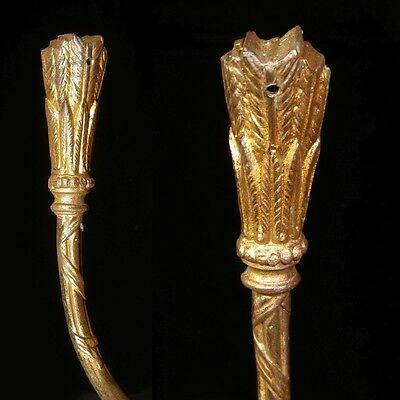 Antique French Gilded Bronze Ornament HookTieback, Neoclassic, Quiver, Stamped 4