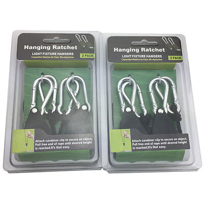 2 Pair Rope Ratchet Adjustable Heavy Duty Hanger Light Lamp Reflector Max 150Lb