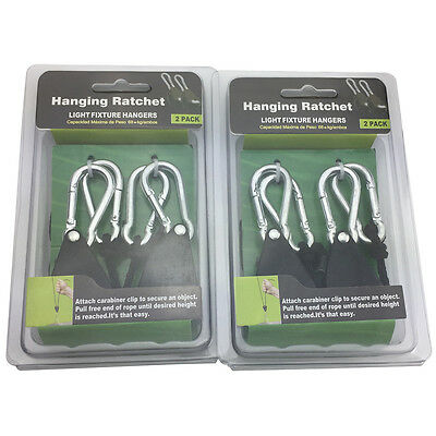 4 PCS Rope Ratchet Adjustable Heavy Duty Hanger Light Lamp Reflector Max 150LB 2
