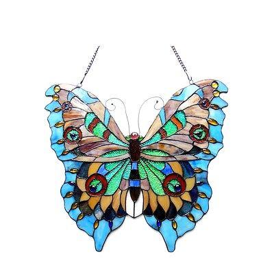 "Tiffany Style Butterfly Design Stained Glass Window Panel Suncatcher 21"" x 20"" 2"