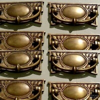 8 heavy vintage old style handles door brass furniture antiques 95 mm pulls B 3