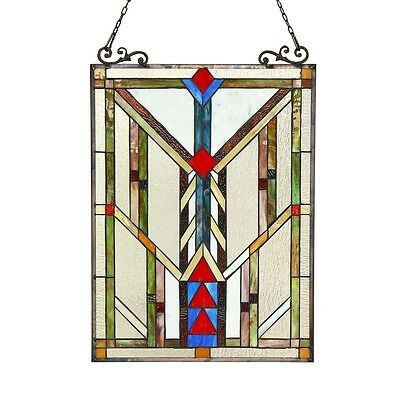 """Handcrafted Stained Glass Tiffany Style Window Panel Arts & Crafts 17.5"""" x 25"""" 2"""