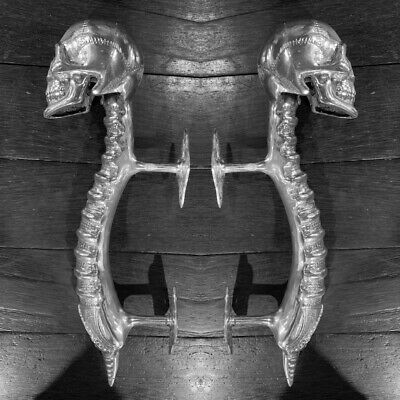 "2 SKULL handle DOOR PULL spine BRASS old vintage style silver plated 13 "" long B 3"