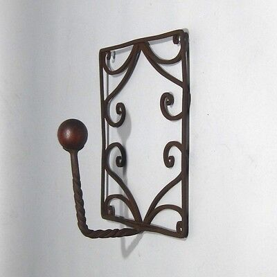 Vintage French Wrought Iron and Wood Coat Hook 3