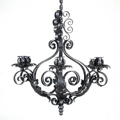 Vintage French Wrought Iron Chandelier Six Lights Mid-20th Century Riviera Style 3
