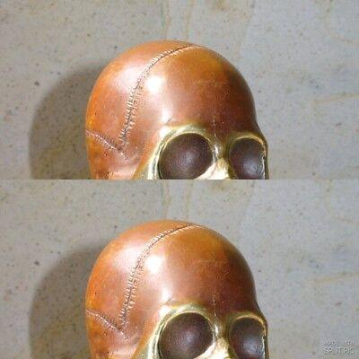 """2 SKULL head 7"""" long WALL HOOK heavy BRASS old style SCREW wall spine hang B 4"""