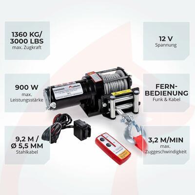 ROTFUCHS® Elektrische Seilwinde 12V 1360KG Elektrowinde Motorwinde Offroadwinde 3