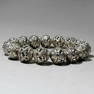 Collectable China Tibet Culture Miao Silver Hand-Carved Flower Decorate Bracelet 3