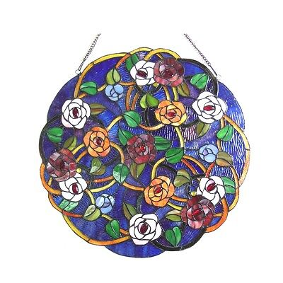 "Tiffany Style Floral Roses Stained Cut Glass 24"" Handcrafted Round Window Panel 2"
