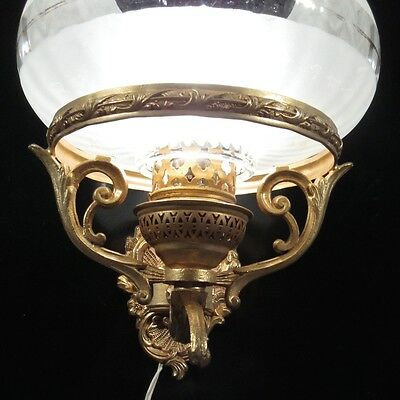 Vintage French Gilded Metal Sconce with Frosted Glass Shade  3