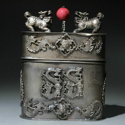 Collectable Old Miao Silver Hand-Carved Phoenix Dragon Beautiful Toothpick Box 2