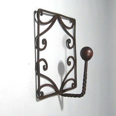 Vintage French Wrought Iron and Wood Coat Hook 4