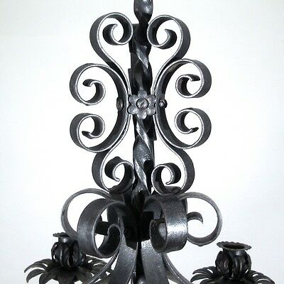 Vintage French Wrought Iron Chandelier Six Lights Mid-20th Century Riviera Style