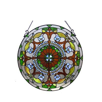 """24"""" Round Victorian Tiffany Style Handcrafted Stained Cut Glass Window Panel 2"""