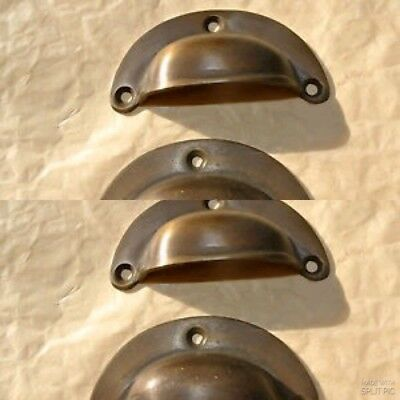 4 small shell shape pulls handles antique solid brass vintage aged drawer 66 mm 6
