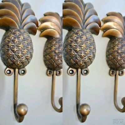 4 large PINEAPPLE COAT HOOKS solid age brass  vintage old style 19cm hook B 2
