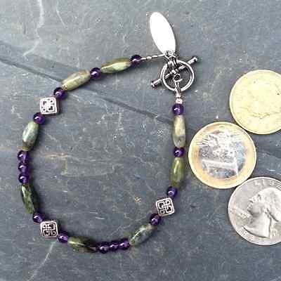 Connemara marble amethyst celtic bracelet. Irish made jewelry boxed traditional 3