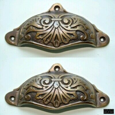 """4 cast engraved solid brass heavy shell shape pulls handle kitchen vintage 4"""" B 2"""