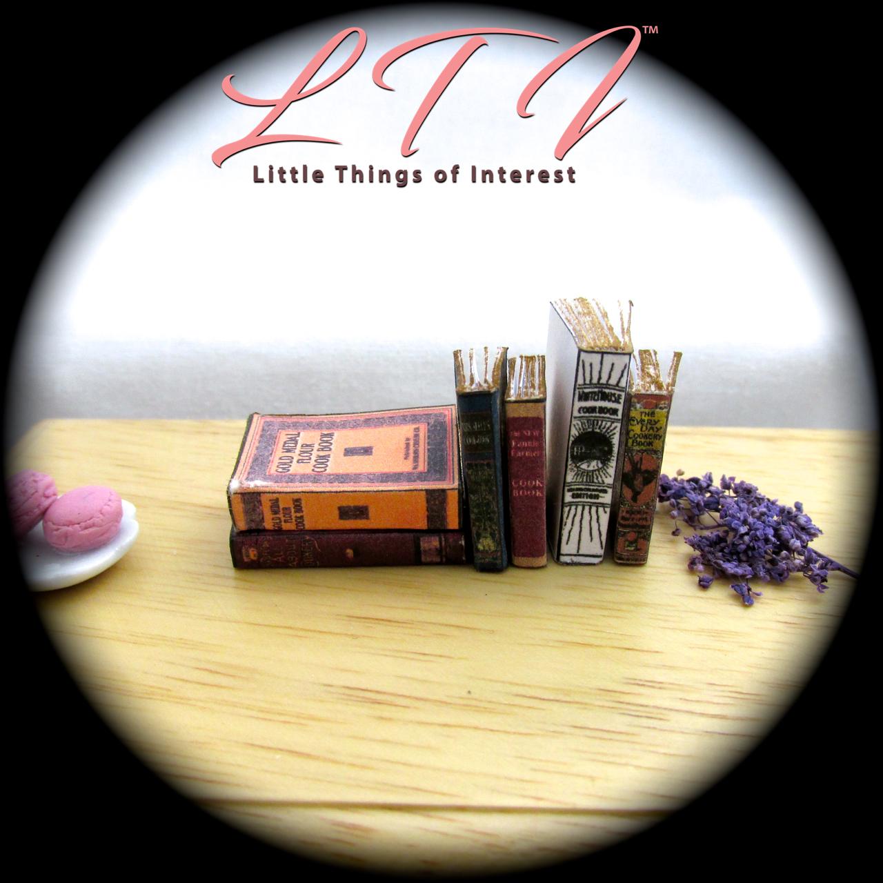 6 VINTAGE OLD COOKBOOKS Set Miniature Dollhouse 1:12 Scale Books PROP Faux 7